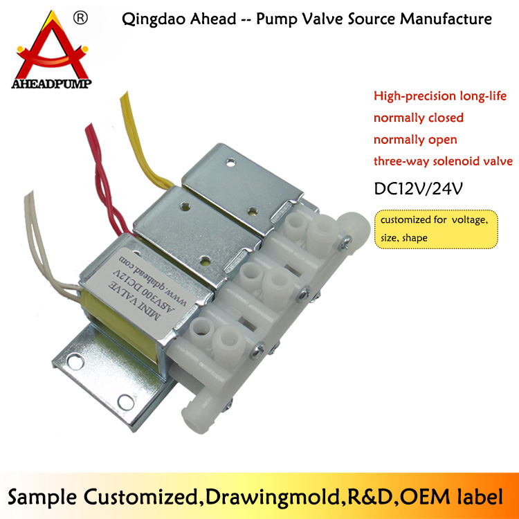 ASV300  DC 24V 12v miniature high pressure electric 3 way plastic low price solenoid valve
